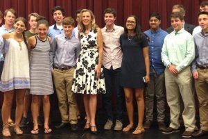 Katie McGinty Visits With High School Students